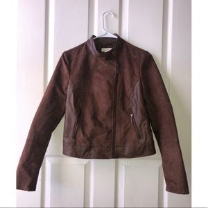 NORDSTROM BROWN LEATHER JACKET SIZE XS